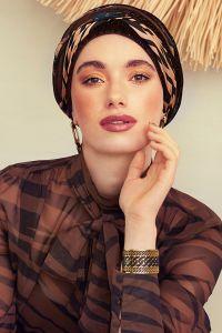 Scarlett turban sæt - Shiny Brown & Animal mix
