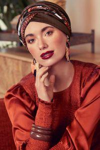 Scarlett turban sæt - Structured Brown w/mix