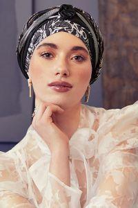Scarlett turban sæt - Floral Wood & Shiny mix